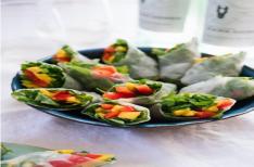 Mango Spring Rolls with Avocado-Cilantro Dipping Sauce