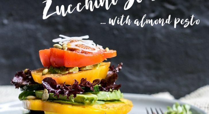 Tomato, Avocado, Zucchini Stacks with Almond Pesto