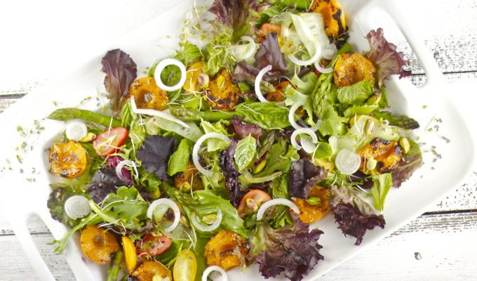 Grilled Apricot & Herb Salad