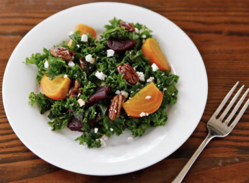 Kale & Roasted Beet Salad with Maple Balsamic Dressing