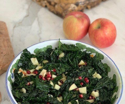 Massaged Kale Salad - with Pomegranate & Apple