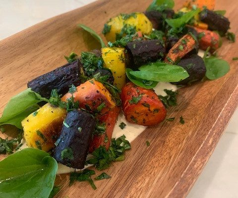 Roasted Heirloom Carrot Salad with Cashew Ricotta & Fresh Herbs